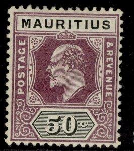 MAURITIUS EDVII SG191, 50c dull purple & black, LH MINT.