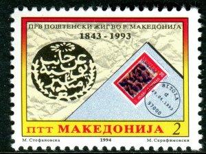 021 - MACEDONIA 1994 - The 150th Anniversary of Macedonian Postmark - MNH Set