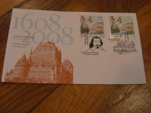 Canada # 2269 JOINT ISSUE FOUNDING OF QUEBEC CITY New 2008 Unaddressed