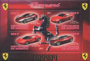 Djibouti Stamps Ferrari Sports Cars Vintage Souvenir Sheet 4 stamps MNH