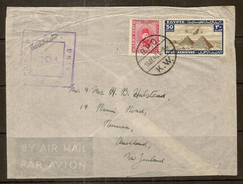 Egypt 1940 Cover to Auckland NZ