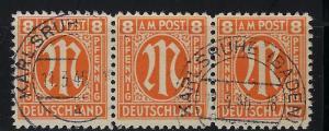 Germany AM Post Scott # 3N6a, used, strip of 3