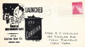1943, USS Corvina SS-226, Launching (N1940)