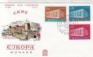 Monaco Europa 1969 Buildings CEPT Slogan Cancel FDC Stamps Cover Ref 26171