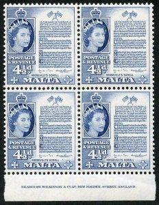 Malta SG273 4 1/2d Deep Blue U/M imprint Block