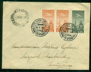 DENMARK 1946, First Flight cover to URUGUAY franked w/airmail stamps, VF