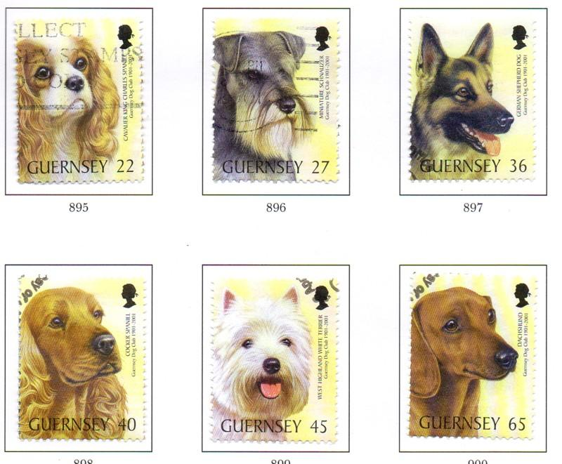 Guernsey Sc 736-41 2001 Centenary Dog Club stamp set used