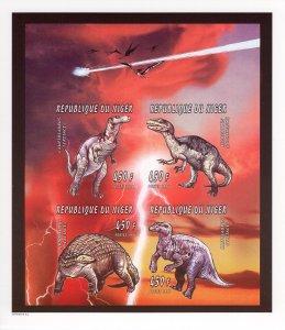 Niger 1996 Sc#926  Dinosaurs/Halley's Comet Sheetlet Imperforated (4) MNH