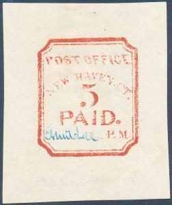 #8XU1R NEW HAVEN, CT 5¢ VERMILION REPRINT, BLUE SIGNATURE WL2219