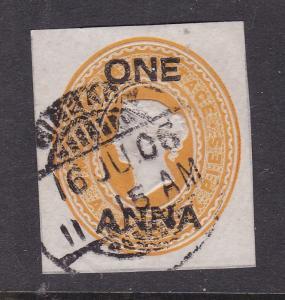 India 1 anna overprint on 2anna 6 pies Victoria Postal Stationary Cutout VGC