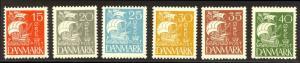 DENMARK #192-97 Mint NH - 1927 Caravel Set