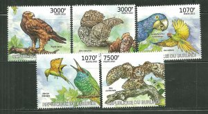 Burundi MNH Set Of 5 Endangered Birds 2012