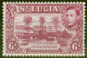 St Lucia 1938 6d Claret SG134 P.13.5 Fine Very Lightly Mtd Mint