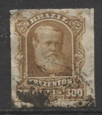Brazil - Scott 75 - Dom Pedro Issue -1878 - Rouletted - Used- Single 300r Stamp