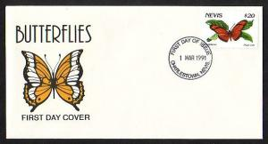 Nevis, Scott cat. 653. Butterfly Definitive issue. First day cover.