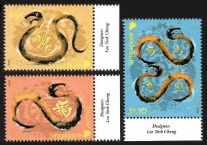 Singapore 1588-1590, MNH. New Year. Year of the Snake, 2013