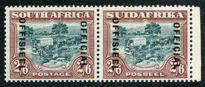 SOUTH AFRICA SGO18 Official 2/6 green and brown type O2 opt 17.5-18.5mm space