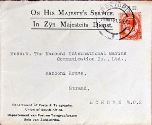 1921 South Africa OFFICIAL Dept Posts & Telegraphs Cover Pretoria > MARCONI Co.