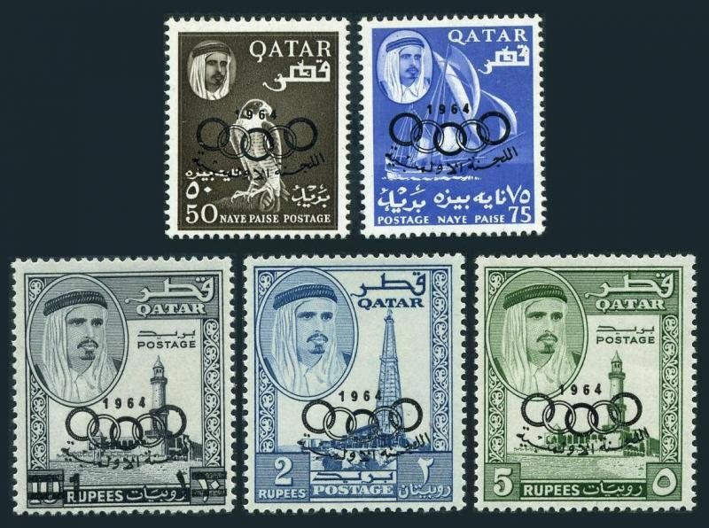 Qatar 37-41,hinged. Olympics Tokyo-1964.Peregrine falcon,Dhow,Mosque,Oil derrick