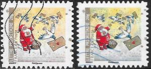 France 3738 Used - Christmas - Missing Light Blue in Snow & Normal Stamp