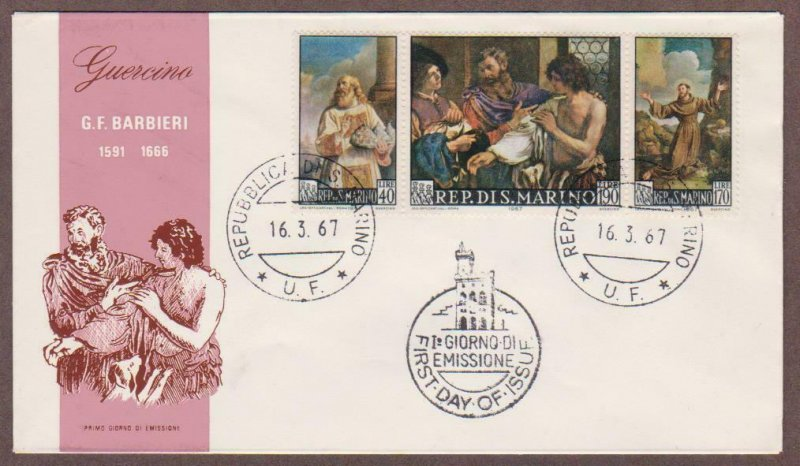 San Marino # 661 - # 663 Barbieri Paintings FDC - I Combine S/H