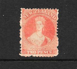 NEW ZEALAND 1873  2d  ORANGE  FFQ  MLH  P12 1/2 NO WMK  CP A2T  SG 138 CHALON