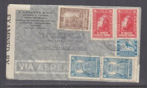 BOLIVIA, 1942 Airmail Censored cover, La Paz to USA, 75c.(2), 1b., 2b., 5b.(2)