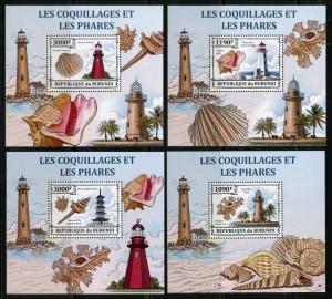 BURUNDI 2012 FIRST TIME OFFERED SHELLS  LIGHTHOUSES  SET OF 4 DELUXE S/S MINT NH