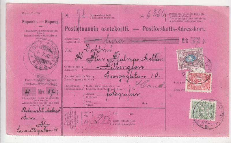 FINLAND, Parcel Card, 1913, Abo to Helsingfors, 55p.
