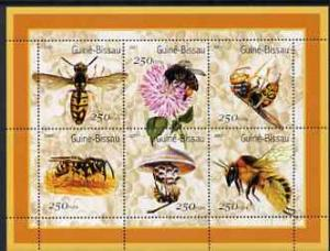 Guinea - Bissau 2001 Bees perf sheetlet containing 6 valu...