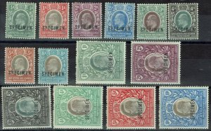 EAST AFRICA AND UGANDA 1903 KEVII SPECIMEN SET WMK CROWN CA/CC