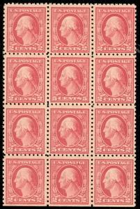 US #467 5¢ carmine (ERRORS) Center stamps Block 12, NH/LH, VF
