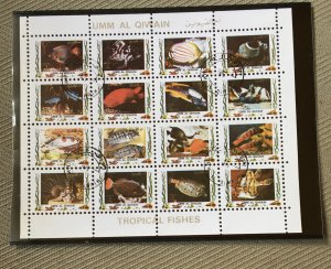 Umm Al Qiwain 1973 set of 9 Animal Mini Sheets