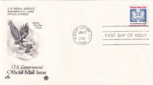1991, F Official Mail Issue, Art Craft/PCS FDC (E11347)