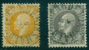 NORWAY #2,3 2sk & 3sk Oscar each w/socked on nose BLUE Frederikshald town cancel