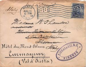 U.S., 5c Lincoln, Scott #304 Used on 1904 Cover Sent from Nyack, N.Y. to Italy