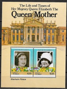 1985 Tuvalu - Funafuti Sc49 Queen Mother MNH S/S
