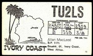QSL QSO RADIO CARD Palm Trees,Ivory Coast,Allan MacLeod, West Africa (Q2977)