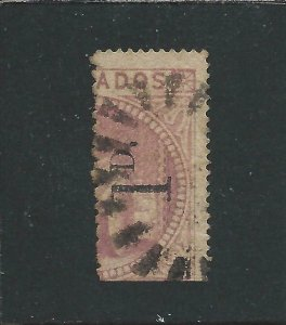BARBADOS 1878 1d on half 5s DULL ROSE TYPE 3b (CERTIFICATE) FU SG 87 CAT £950