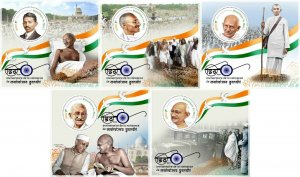 MAHATMA GANDHI 150th ANNIVERSARY INDIA PERSONALITIES MNH STAMP SET 5 SHEETS