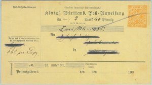 89234 - GERMANY Württemberg - Postal History - POSTAL STATIONERY COVER # 15I