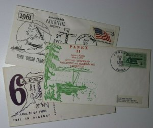 APEX & PANEX Sc#1023 Anchorage/Juneau AK Philatelic Exposition Cachet Covers