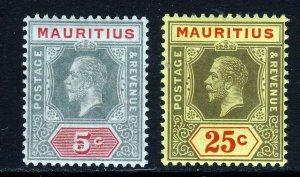 MAURITIUS KG V 1913 5c. & 25c. Die I Wmk Multiple Crown CA SG 196 & SG 199 MINT