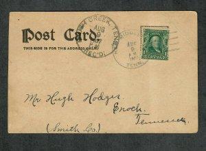 Tennessee Cancel Post Card New Middleton Doane Type 2/3 DPO 1907 Brush Creek