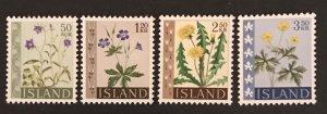Iceland 1960-62 #329-32 MNH, CV $1.40