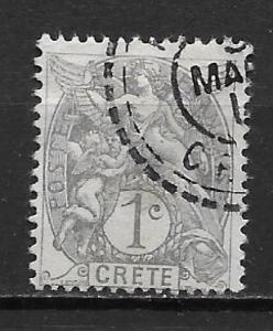 French Offices in Crete 1 1c single Used