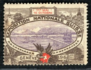 SWITZERLAND NATIONAL EXHIBITION STAMP/LABEL Geneva 1896 Mint MM Y2WHITE35