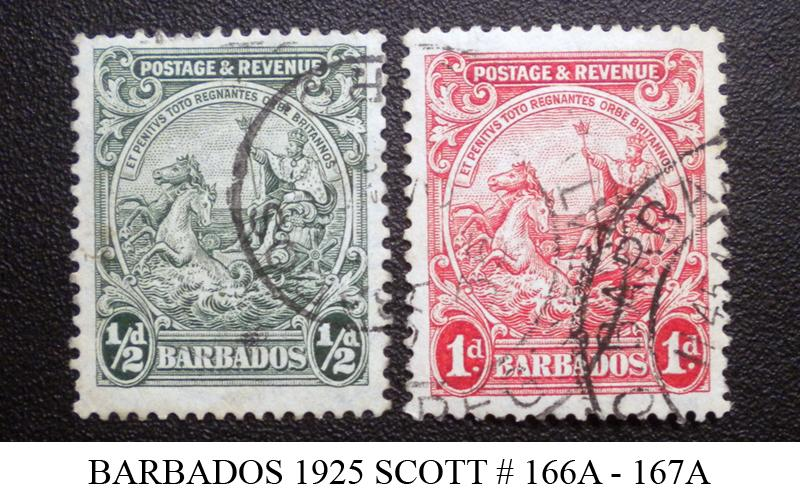 BARBADOS STAMP 1925. SCOTT # 166A - 167A. USED. ITEM 1