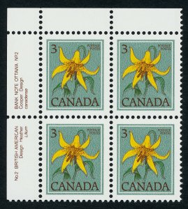 Canada 783iii TL Block Plate 2 MNH Flower, Canada Lily