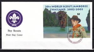 Grenada, Gr., Scott cat. 2403. Scout Jamboree s/sheet. First day cover.